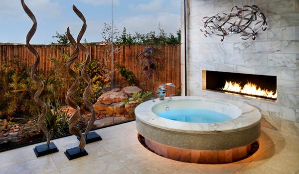 Add drama with a fireplace