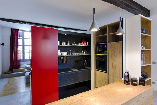 opened cabinet