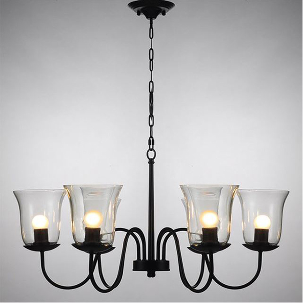 Glass shades Iron Chandelier