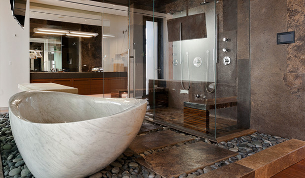 Create continuity in the bathroom