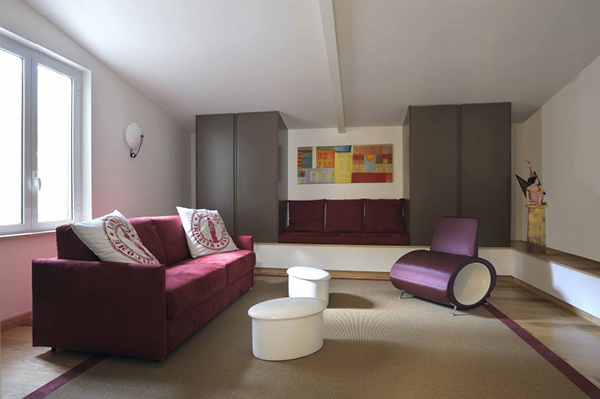 colorful and modern interior of the loft residence in rome italy