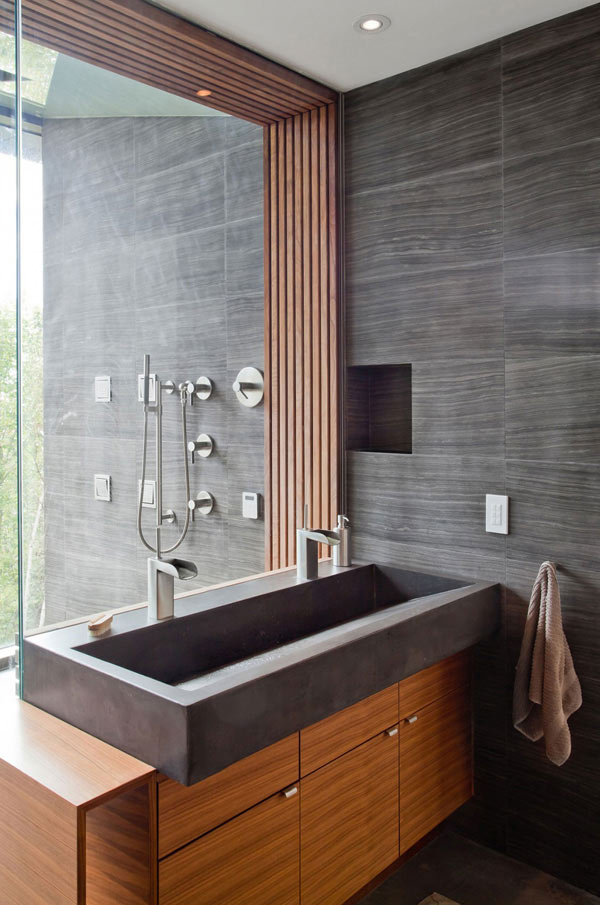 gray stone powder room