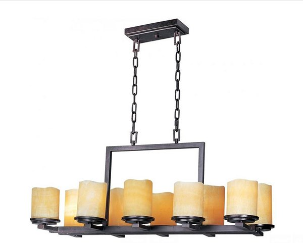 Ten Rustic Ebony Stone Candle Chandelier
