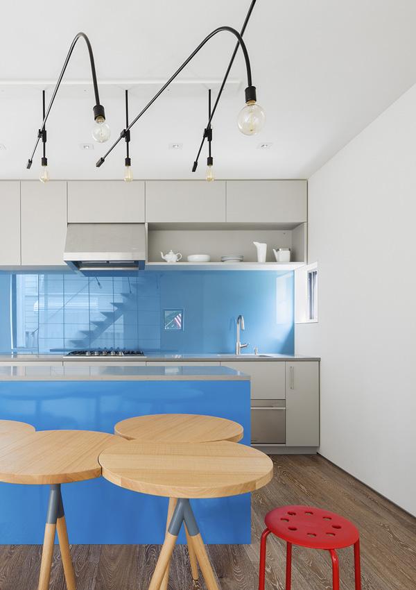 blue kitchen area