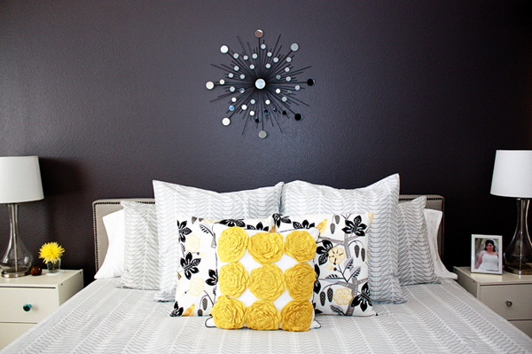20 Lovely Decor Ideas For Adding Impact Above The Sofa: 20 Sophisticated Black And Yellow Bedrooms