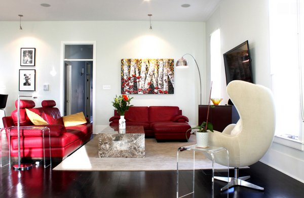 Contemporary Red Sofa Living Room Ideas Decoration