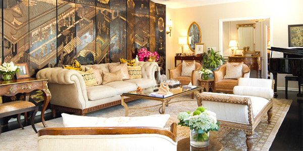 Gold Living Room Amazing Design
