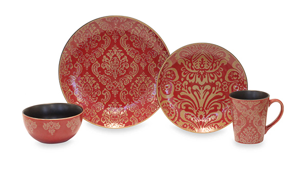 Baum Damask 16-Piece Dinnerware Set In Red