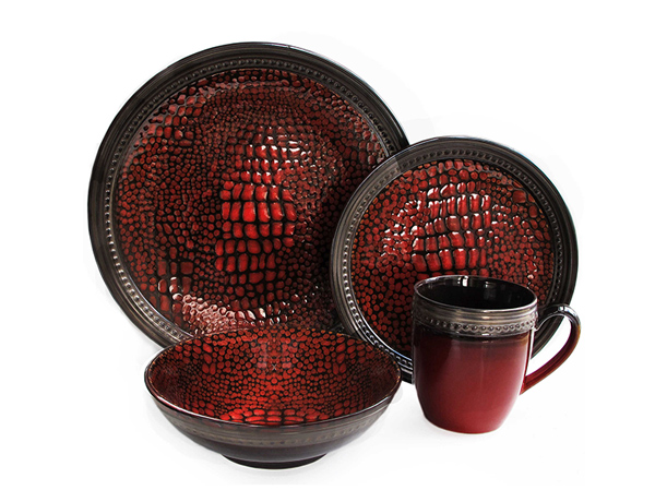 Tasmania 16-Piece Dinnerware Set In Red