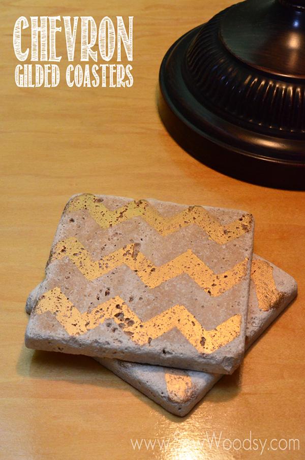 Chevron Gilded Coasters