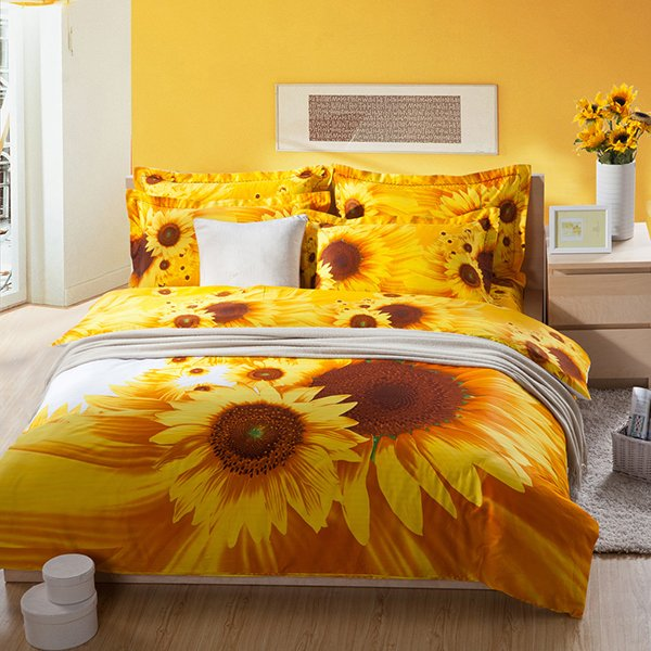 Sun Flowers Floral Pattern Duvet Set