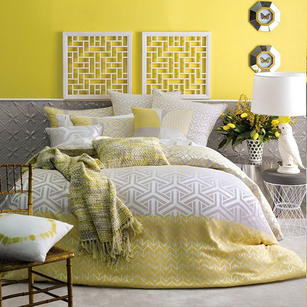 Saffron Yellow Quilt bed cover