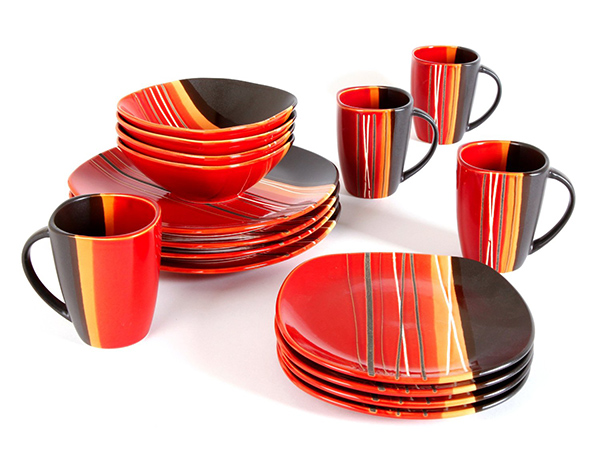 Bazaar Red 16-Piece Square Dinnerware Set