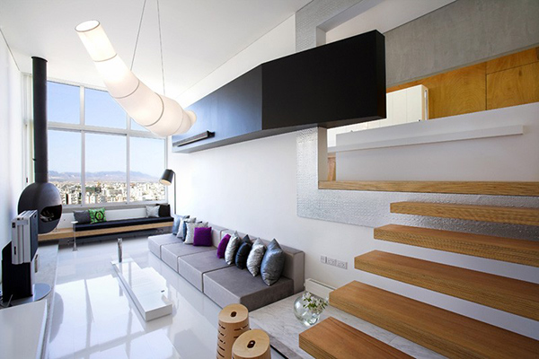 Bright Contemporary Interiors Of Split Level Apartment In