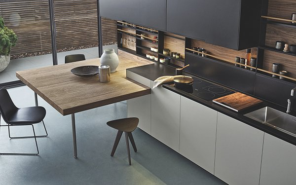 Streamlined varenna kitchen designs for a modern - Kitchen island with table attached ...