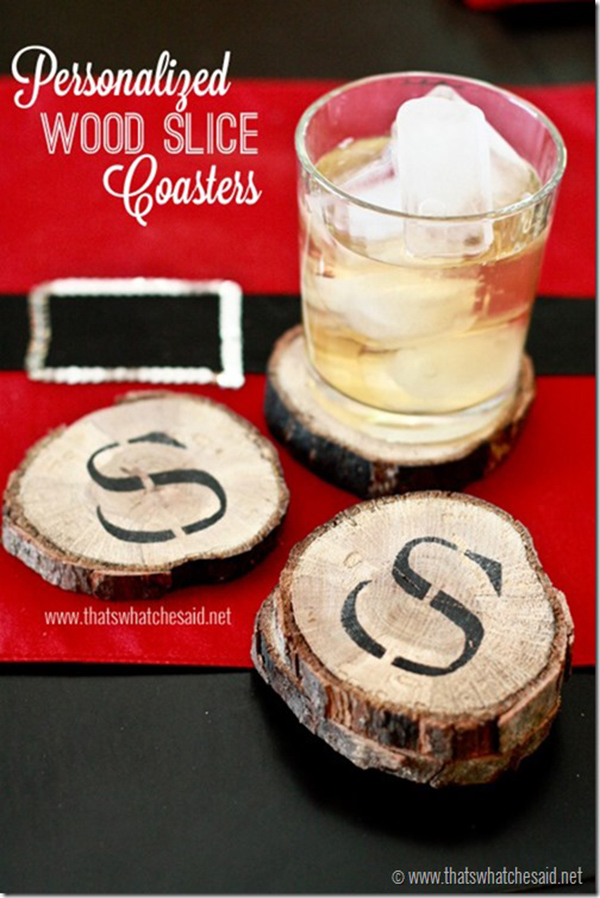 Personalized DIY Wood Slice Coasters