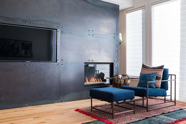 fireplace metal wall
