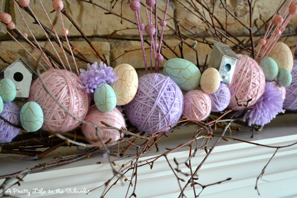 Easter Inspired Yarn Ball & Twig Garland