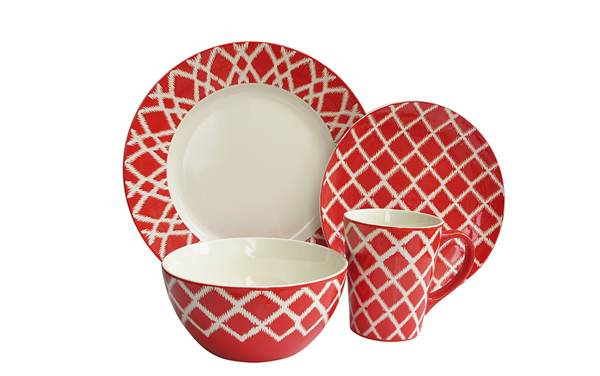 American Atelier Plaid 16 Piece Dinnerware Set