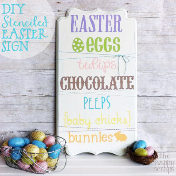 DIY Stenciled Easter Sign