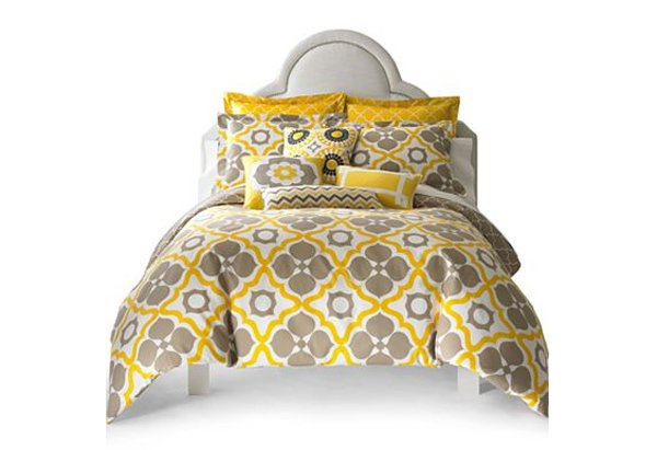 yellow and gray duvet