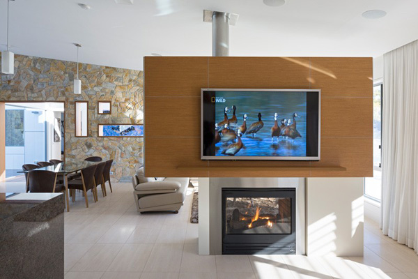 fireplace television area