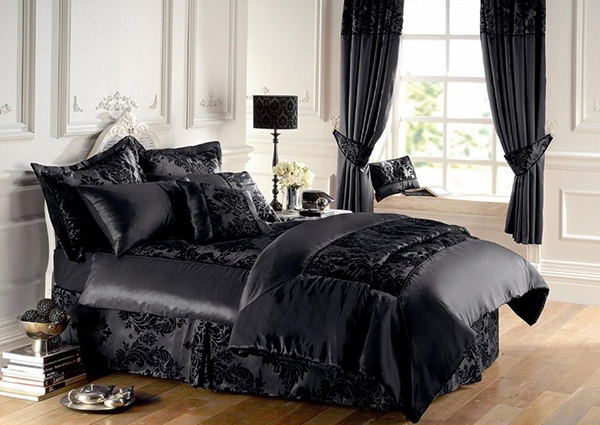 Gaveno Cavailia Flock Black/Black Double Duvet Cover Set