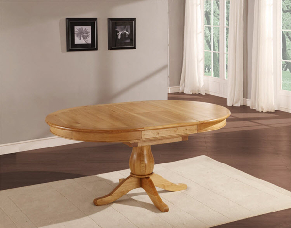 9. Havana Oak Round To Oval Extending Dining Table