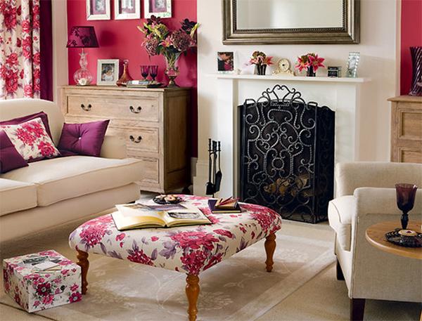 Coral/Floral Living Room