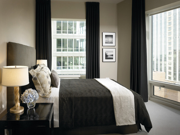 black drapes bedroom