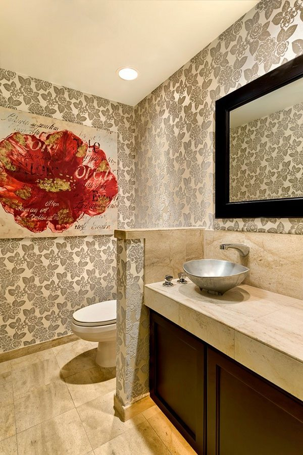 flocked wallpaper bathroom wall decor