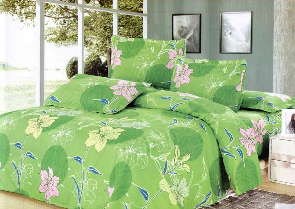 floral green linen