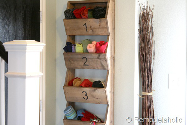 DIY Rustic Wall Storage Bins