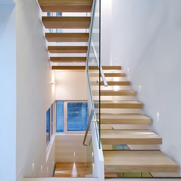 floating wooden stair
