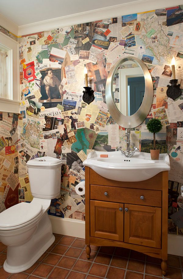 paper wall treatment bathroom ideas