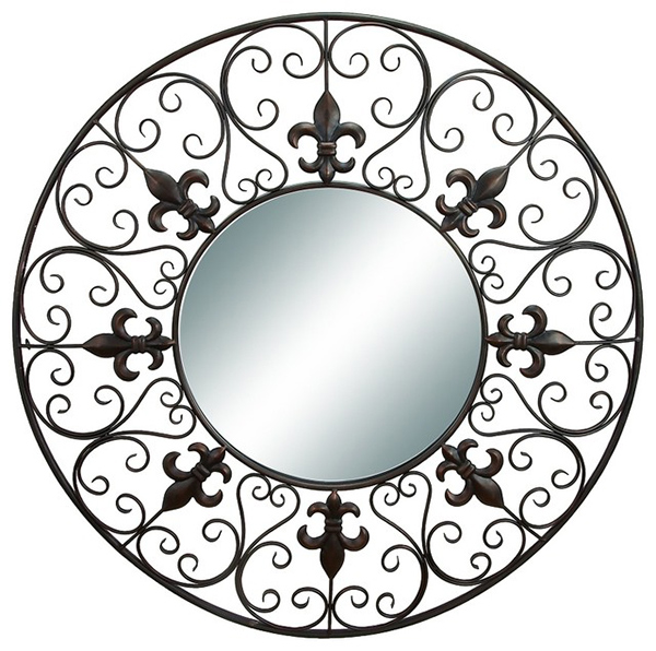 Round Wall Mirror Fleur De Lis