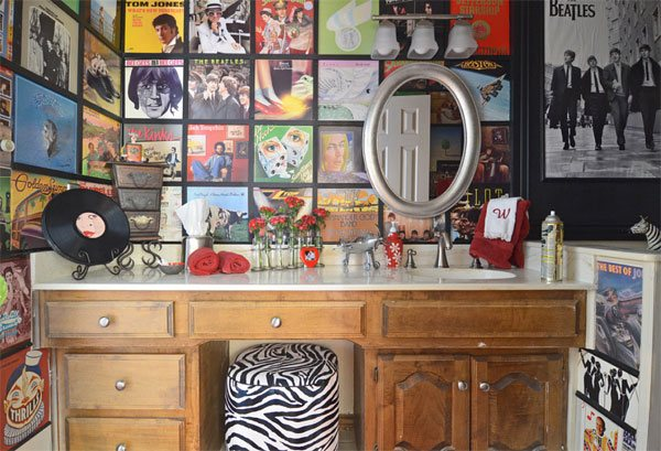 vintage albums bathroom wall ideas