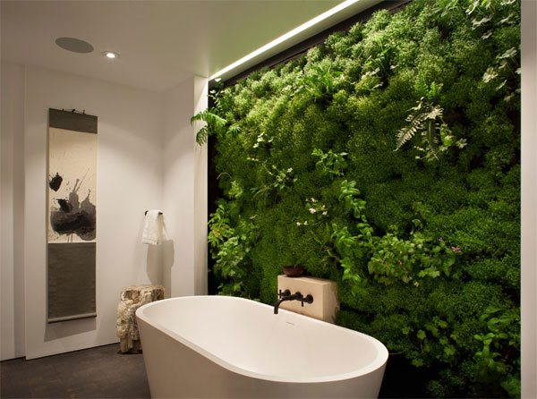 green plants bathroom wall decor