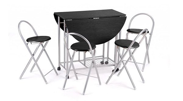 Revesun 5Pcs Butterfly Set Kitchen Table With Unique Folding Design -Black