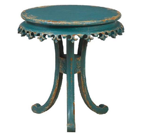 Cyan Fleur-de-Lis Tables