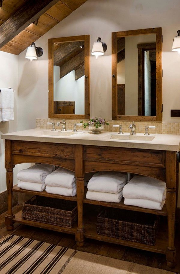 double vanity Rustic Bathroom