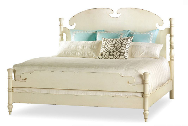 King Panel Beds in Antique Chipped White