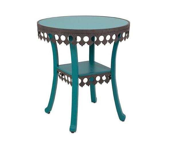 Vintage Chic Lacy Blue Accent Tables