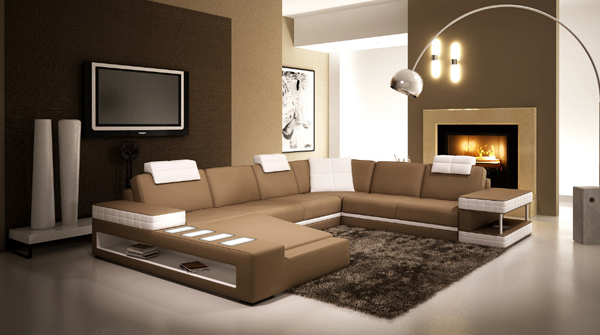 18. New Modern Living Room Leather Sofa Set
