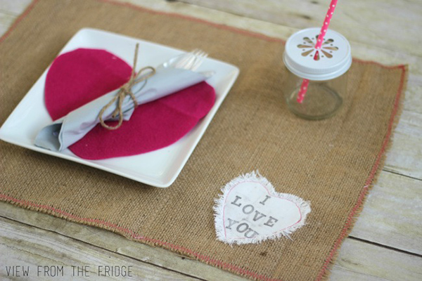 Burlap Valentine's Day Placemats