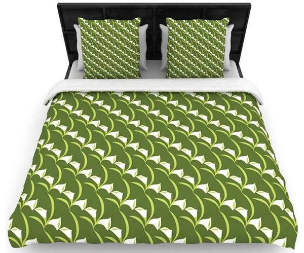 green pattern linen