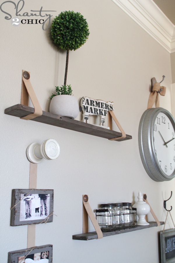 DIY Shelves With Leather Straps