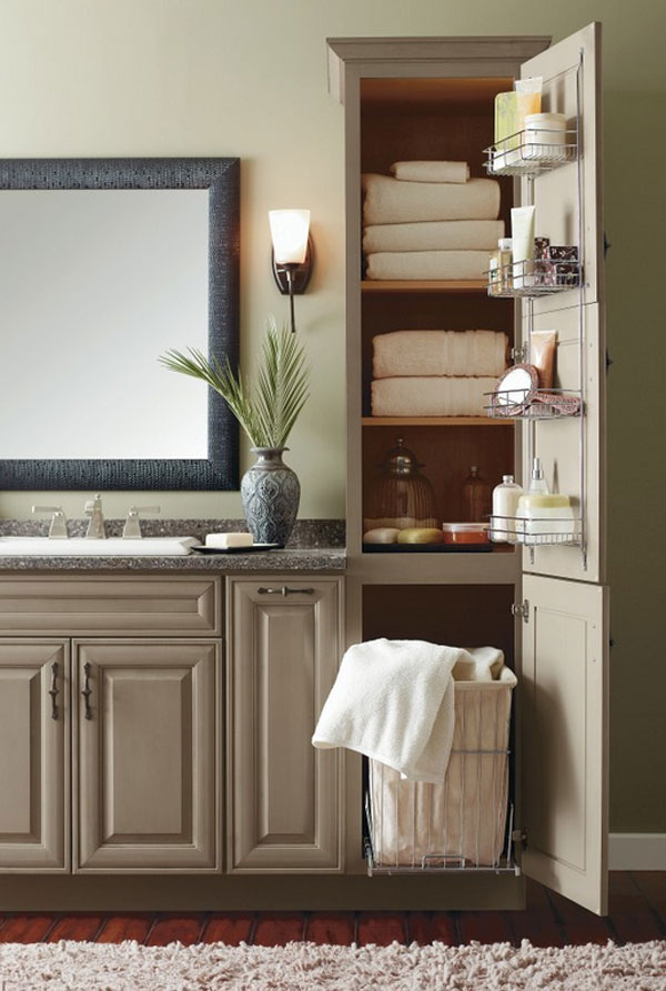 roll out hamper bathroom linen cabinet furniture