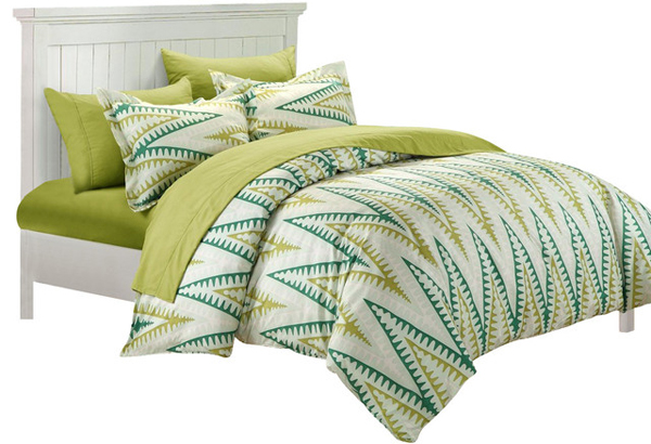 green bed linens