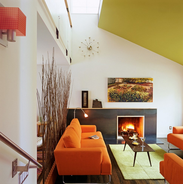 orange living room set